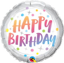 "Birthday Rainbow Dots Foil Balloon (18"") 1pc"